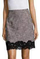 Rebecca Taylor Slub Lace-Trimmed Mini-Skirt