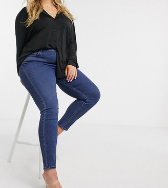 ASOS DESIGN Curve high rise ridley 'skinny' jeans in indigo wash