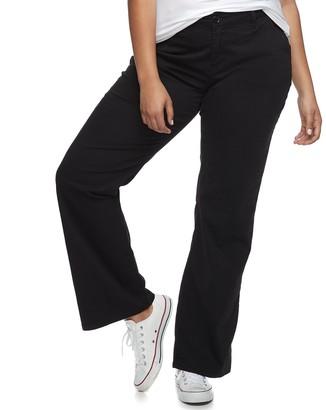 UNIONBAY Juniors' Plus Size Uniform Heather Twill Bootcut Pants