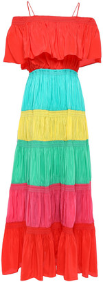 Alice + Olivia Kia Cold-shoulder Color-block Crepe De Chine Maxi Dress
