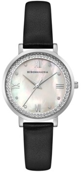 BCBGMAXAZRIA Ladies Black Leather Strap Watch with Light Mop Dial, 33mm