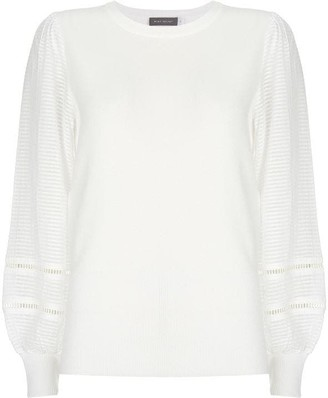 Mint Velvet Ivory Puff Sleeve Knitted Top