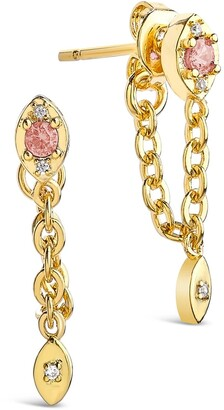 Sterling Forever Gold Plated Charm and Chain Dangle Studs - Blush