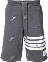 Thom Browne Classic Sweatshort In Quilted Loopback Cotton With Skier Embroidery