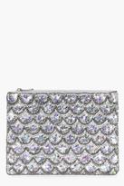 Boohoo Alice Mermaid Embellished Clutch Bag