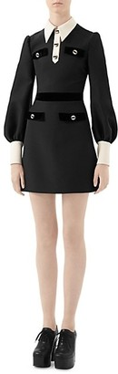 Gucci Cady Crepe Contrast Collar Velvet-Trim Wool & Silk A-Line Dress