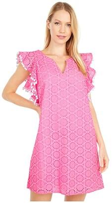 Lilly Pulitzer Astara Dress (Prosecco Pink Neon Geo Eyelet) Women's Dress