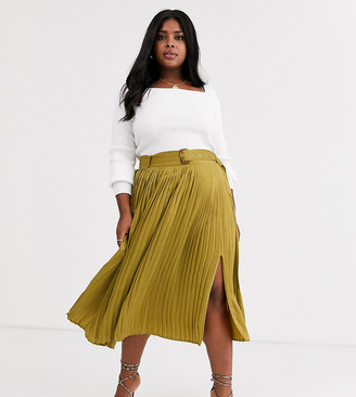 Neon Rose Plus pleated midi skirt with belt in hammered satin-Green