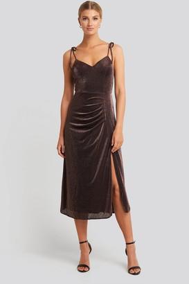 Trendyol Side Slit Luminous Midi Dress Brown