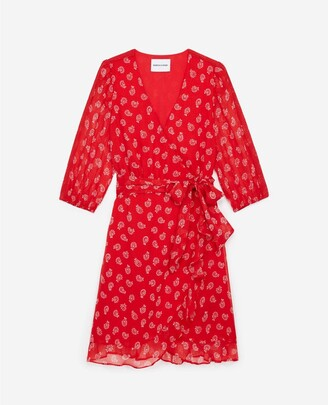 The Kooples Printed light red dress with belt