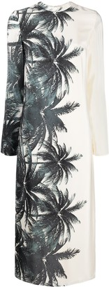 Ermanno Scervino Foliage-Print Mock Neck Dress