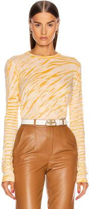 Proenza Schouler Long Sleeve Tie Dye Tee in Peach & Apricot Diagonal | FWRD