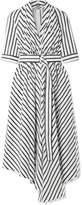 ADAM by Adam Lippes Asymmetric Pleated Striped Cotton-poplin Midi Dress - White