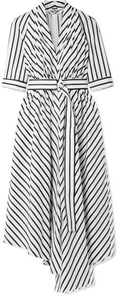 ADAM by Adam Lippes Asymmetric Pleated Striped Cotton-poplin Midi Dress - White