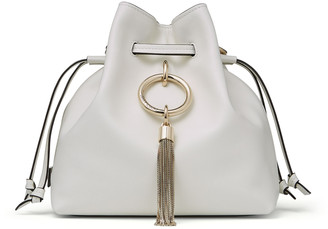Jimmy Choo CALLIE DRAWSTRING/S Latte Smooth Calf Leather Bucket Bag with Chain Strap