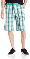 Southpole Men's Washed Plaid Shorts with Regular Plaids and Matching Belt