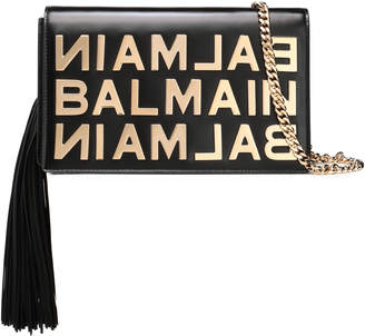 Balmain Fringed Embellished Leather Clutch