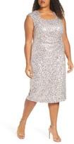Tahari Sequin & Beaded Cocktail Dress