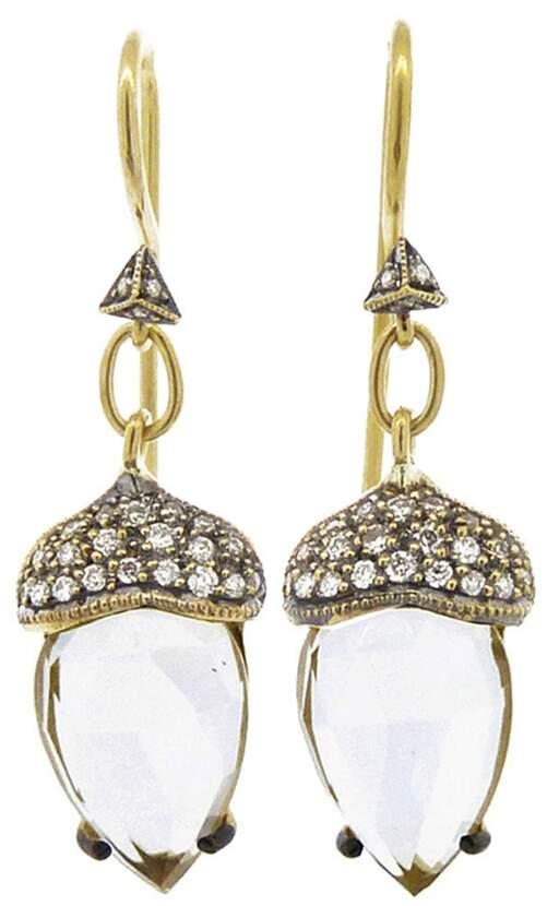 Cathy Waterman White Topaz Acorn Earrings - 22 Karat Gold