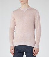 Reiss Reiss Tackler - Faded Cotton Jumper In Pink