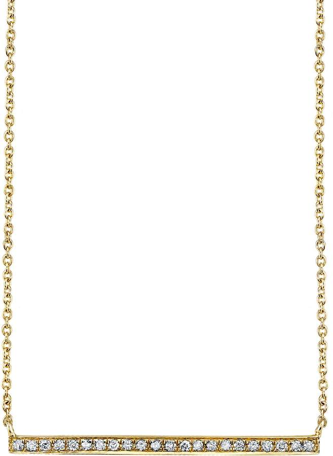 Sydney Evan Yellow Gold and Diamond Long Bar Necklace