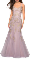 La Femme Sleeveless Golden Lace Applique Mermaid Gown with Strappy-Back
