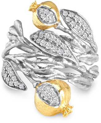 Michael Aram Pomegranate 18k Gold & Diamond Cuff Ring, Size 7