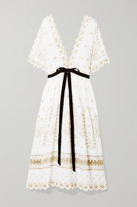 LoveShackFancy Augusta Velvet-trimmed Metallic Broderie Anglaise Midi Dress - White
