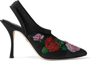 Dolce & Gabbana Floral-print Stretch-knit Slingback Pumps