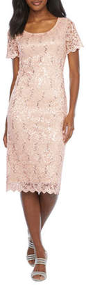 Ronni Nicole Short Sleeve Floral Sequin Lace Sheath Dress