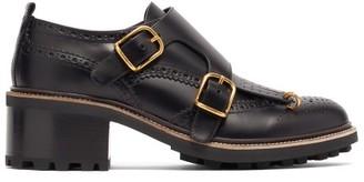 Chloé Fringed-vamp Monk-strap Leather Brogues - Black