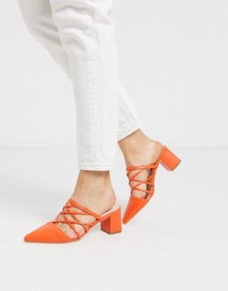 Raid Darla strappy heeled mules in bright orange