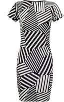 Select Fashion Fashion Womens Grey Mix Stripe Cap Slv Bodycon Drs - size 6