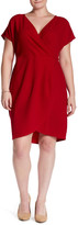 London Times Surplice V-Neck Solid Dress (Plus Size)