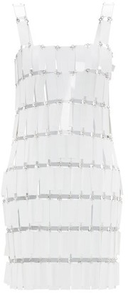Paco Rabanne Fringed-paillette Chainmail Mini Dress - Womens - White