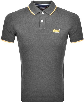 Superdry Classic Pool Side Pique Polo T Shirt Grey