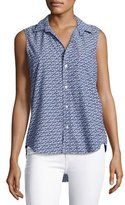 Frank And Eileen Fiona Sleeveless Floral-Print Shirt, Blue