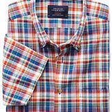 Charles Tyrwhitt Slim fit short sleeve orange and blue check shirt