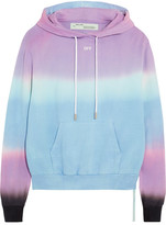Off-White Tie-dye Cotton-jersey Hooded Top - Lilac