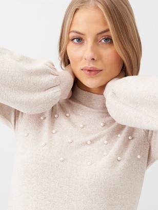 Very Pearl Detail Balloon Sleeve Snit Top - Ecru