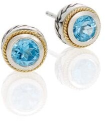 Effy Blue Topaz, Sterling Silver & 18K Yellow Gold Button Earrings