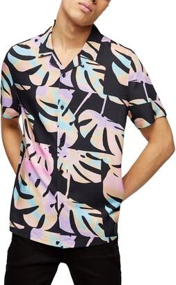 Topman Palm Print Short Sleeve Button-Up Camp Shirt