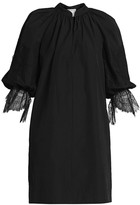 Givenchy Lace-Trim Puff-Sleeve Cotton Dress