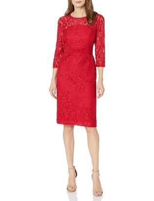 Nine West Women's Elegant Lace 3/4 Sleeve Fitted Dress with Waist Detail