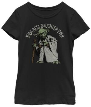 Fifth Sun Star Wars Big Girl's Yoda Best Daughter Ever Portrait Short Sleeve T-Shirt