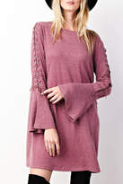 Easel Lace-Up Sleeves Dress