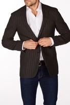 Levinas Brown Pinstripe Two Button Notch Lapel Wool Slim Fit Blazer