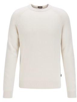 HUGO BOSS Regular Fit Sweater In Cashmere With Crew Neckline - Black
