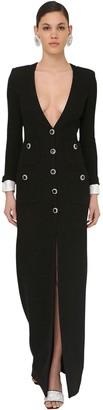 Alessandra Rich Long V Neck Wool Tweed Dress