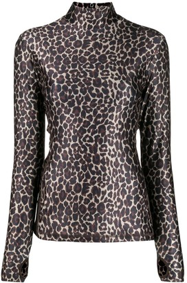 Golden Goose Leopard-Print Turtleneck Top